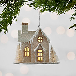 White LED House Ornaments, Set of 2