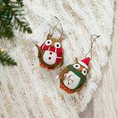 Felt Owl Ornaments, Set of 2