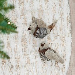 Wool Bird Ornaments, Set of 2
