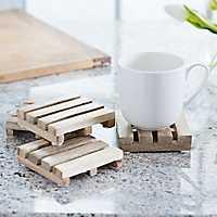 Natural Wood Pallet Coasters, Set of 4