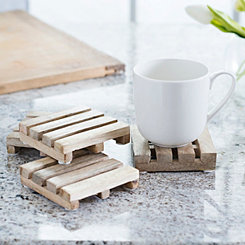 Natural Wood Pallet Coasters, Set of 4