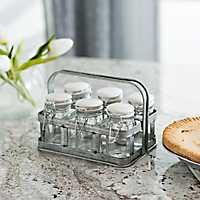 Galvanized Metal Spice Holder with Glass Jars
