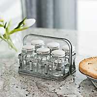 Galvanized Metal Spice Holder with Glass Jars