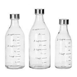 Measuring Milk Bottles, Set of 3