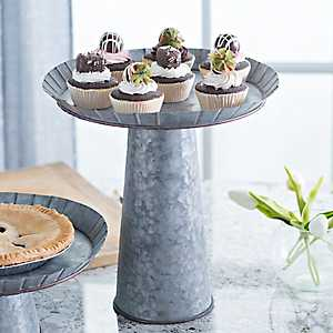 Large Galvanized Metal Cake Stand