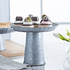 Medium Galvanized Metal Cake Stand