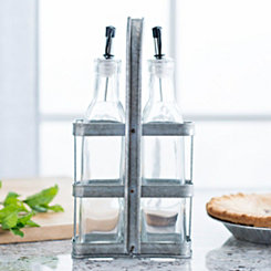 Galvanized Oil Bottle Caddy, Set of 2