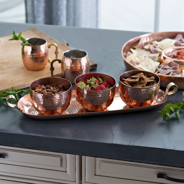 Hammered Copper 4 piece Bowl and Tray Set