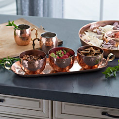 Hammered Copper 4-pc. Bowl and Tray Set