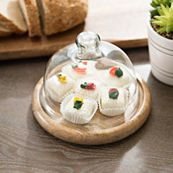 Wooden Serving Plate with Glass Dome, 7.5 in.