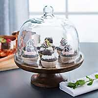 Wooden Cake Plate with Glass Dome