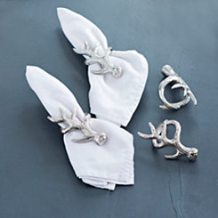 Silver Antler Napkin Rings, Set of 4