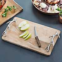 Wood Tray with Metal Antler Handles