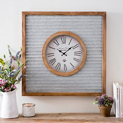 Tyler Galvanized Metal Square Wall Clock