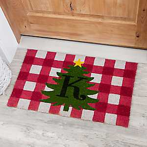 Red Buffalo Check Monogram Tree Doormats