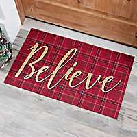 Plaid Believe Christmas Doormat