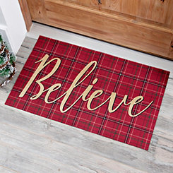 Plaid Believe Christmas Doormat
