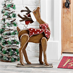Wooden Reindeer With Santa Hat Outdoor Statue