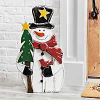 Wooden Snowman With Tree Outdoor Statue, 30 in.