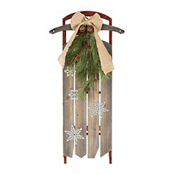 Wooden Christmas Sleigh with Stars