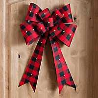 Pre-Lit Buffalo Check Christmas Door Bow