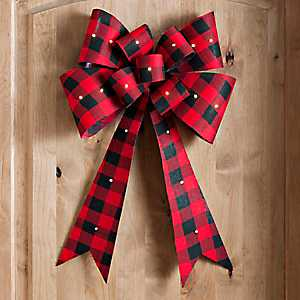 Pre-Lit Buffalo Check Christmas Door Bow