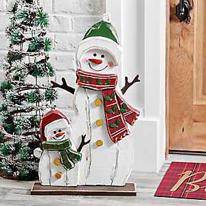 Wooden Snowman and Snowkid Outdoor Statue