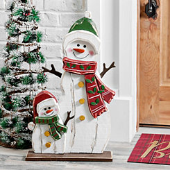 Wooden Snowman and Snowkid Outdoor Statue