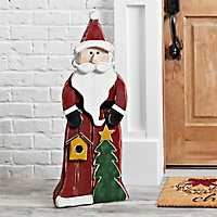 Wooden Santa with Tree Outdoor Statue