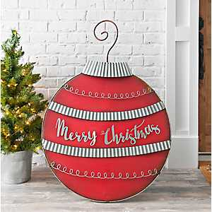 Galvanized Red Merry Christmas Yard Ornament