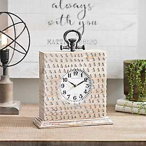 Distressed White Avery Tabletop Clock