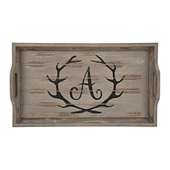 Rustic Brown Monogram A Antler Tray