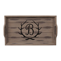 Rustic Brown Monogram B Antler Tray