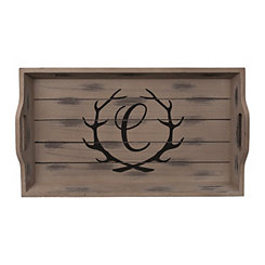 Rustic Brown Monogram C Antler Tray