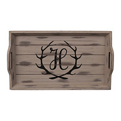 Rustic Brown Monogram H Antler Tray