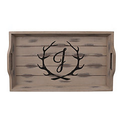Rustic Brown Monogram J Antler Tray