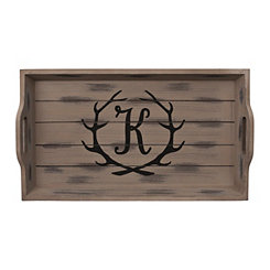 Rustic Brown Monogram K Antler Tray