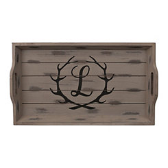 Rustic Brown Monogram L Antler Tray