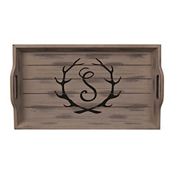 Rustic Brown Monogram S Antler Tray