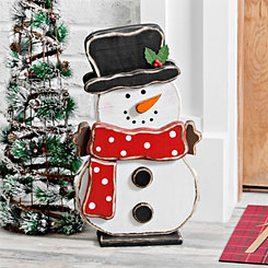 Wooden Polka Dot Snowman Outdoor Statue