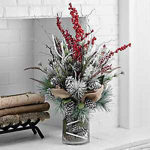 Pine, Berry, and Birch Arrangement