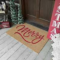 Coir Fiber Red Merry Christmas Mat