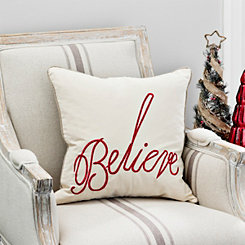 Believe Red Embroidered Christmas Pillow