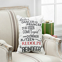 Reindeer Names Accent Pillow