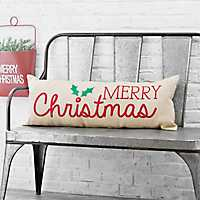 Ivory Merry Christmas Bench Pillow