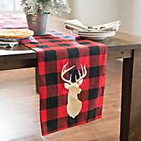 Red and Black Buffalo Check Deer Head Table Runner