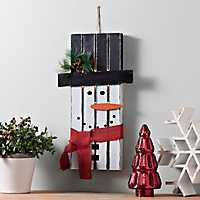 Pre-Lit Wooden Snowman Wall Plaque