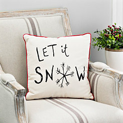 Let It Snow Black Checkered Reversible Pillow
