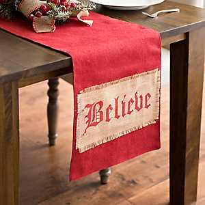 Red Burlap Believe Table Runner With Bells