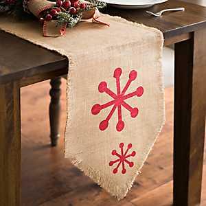 Red Burlap Snowflake Table Runner